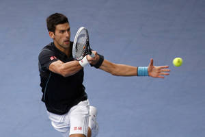 Photo - Novak Djokovic of Serbia returns the ball to David Ferrer of Spain during their final match, at the Paris Masters tennis at Bercy Arena in Paris, France, Sunday, Nov. 3, 2013. (AP Photo/Francois Mori)