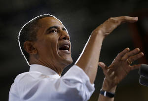 photo - FILE - In this Sept. 26, 2012, file photo, President Barack Obama speaks at a campaign event at Bowling Green State University in Bowling Green, Ohio. A month after the bitterly fought election, Obama has his highest approval ratings since the killing of Osama bin Laden, according to an Associated Press-GfK poll, and more Americans say the nation is heading in the right direction now since the start of his first term. Obama's approval rating stands at 57 percent, the highest since May, 2011, and up five points from before the election. And 42 percent say the country is on the right track. (AP Photo/Pablo Martinez Monsivais)