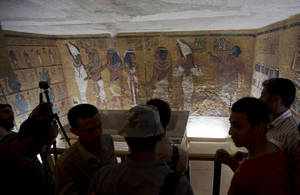 Photo - Foreign diplomats and Egyptologists attend the opening of an exact replica of the Tomb of Tutkankhamun in Luxor , Egypt. Wednesday, April 30, 2014. The replica aimsto help preserve the original, more than 3,300-year-old tomb from deterioration caused by tourist visitors. (AP  Photo/Khalil Hamra)