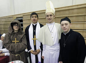 Photo - Representing the Vatican City during the Global Festival, from left, are Arcy Hicks, Brandon Rodriguez, Karsen Flies and Stephen Woods.  By Paul Hellstern, The Oklahoman <strong>PAUL HELLSTERN - Oklahoman</strong>