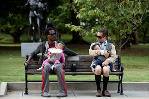 "Photo -   In this film image released by Lionsgate, Chris Rock, left, and Tom Lennon are shown in a scene from ""What to Expect When You're Expecting."" (AP Photo/Lionsgate, Melissa Moseley)"