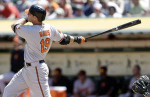 Photo - Baltimore Orioles' Chris Davis (19) drives in two runs with a bases-loaded double against the Oakland Athletics during the fourth inning of a baseball game on Sunday, April 28, 2013, in Oakland. Calif. (AP Photo/Marcio Jose Sanchez)
