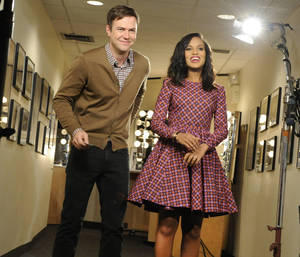 "Photo - This Oct. 29, 2013 photo released by NBC shows actress Kerry Washington, right, with cast member Taran Killam during a promotional shoot for ""Saturday Night Live,"" in New York. Washington will host the late night comedy sketch series on Nov. 2. (AP Photo/NBC, Dana Edelson)"