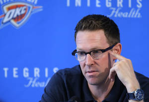Photo - Sam Presti, Oklahoma City Thunder NBA basketball team general manager, speaks at a press conference at the Thunder practice facility in Oklahoma City Wednesday, Sept. 26, 2012.  Photo by Sarah Phipps, The Oklahoman