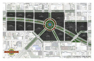 Photo - Engineers with the Oklahoma Department of Transportation say their schematic for a proposed roundabout on the new downtown boulevard was based on a rendering they obtained from the Facebook page of Friends for a Better Boulevard. The engineers' rendering shows 10 streets connecting to the roundabout. The above design with just five connecting streets is the actual rendering portrayed on the Friends for a Better Boulevard Facebook page. Drawing by Andrew Stewart, AIA Assc.