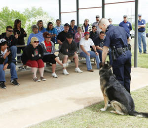Photo - Officer Joe Rice demonstrates some of the abilities of his police dog, Ronny, during the Edmond Citizen Police Academy at the Edmond Police Training Center. PHOTO BY PAUL HELLSTERN, OKLAHOMAN ARCHIVE