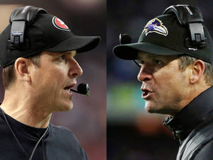 Photo - This combo image made of Sunday, Jan. 20, 2013, photos shows San Francisco 49ers head coach Jim Harbaugh, left, in Atlanta, and Baltimore Ravens head coach John Harbaugh in Foxborough, Mass., during their NFL football conference championship games. Get ready for the Brother Bowl_ it'll be Harbaugh vs. Harbaugh when Big Bro John's Baltimore Ravens (13-6) play Little Bro Jim's San Francisco 49ers (13-4-1) in the Super Bowl at New Orleans in two weeks. (AP Photos/Mark Humphrey, Matt Slocum)