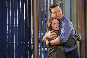 "Photo - This publicity image released by NBC shows Samantha Isler as Ellie, left, and Sean Hayes as Sean in ""Sean Saves The World,"" premiering Oct. 3 at 9 p.m. EST. (AP Photo/NBC, Vivian Zink)"