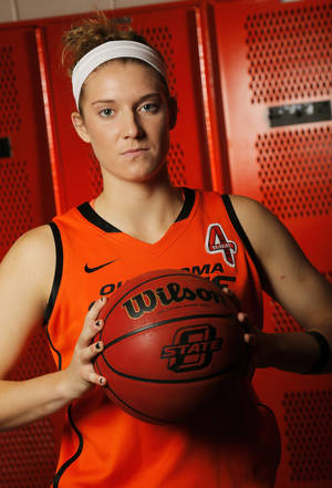 photo - WOMEN'S COLLEGE BASKETBALL: OSU's Liz Donohoe (4) poses for a photo during basketball media day for Oklahoma State University at Gallagher-Iba Arena in Stillwater, Okla., Monday, Oct. 22, 2012. Photo by Nate Billings, The Oklahoman