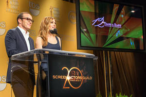 Photo - Clark Gregg and SAG Awards Social Media Ambassador /Actress Sasha Alexander announce the nominees for the 20th Annual Screen Actors Guild Awards at the Pacific Design Center on Wednesday December 11, 2013 in Los Angeles. (Photo by Paul A. Hebert/Invision/AP)