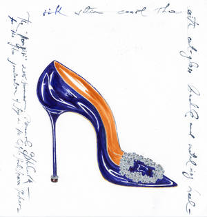 Photo - Manolo Blahnik Hangisi jeweled satin pump in blue. Photo provided by Balliets