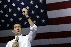 photo -   Republican vice presidential candidate, Rep. Paul Ryan, R-Wis., gestures as he speaks during a campaign event, Saturday, Nov. 3, 2012 in Marietta, Ohio. (AP Photo/Mary Altaffer)