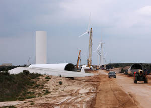 photo - Construction on the OU Spirit Wind Farm, a 10,000-acre farm near Woodward, is shown on Sept. 17, 2009. Photo Provided by OG&amp;E