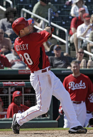 Photo - Cincinnati Reds' Chris Heisey watches his three-run home run off Chicago White Sox starting pitcher John Danks in the fourth inning of a spring training baseball game Tuesday, March 19, 2013, in Goodyear, Ariz. (AP Photo/Mark Duncan)