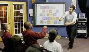 Photo - Blake Harrison, co-founder and creative director of Flocabulary, visited Oklahoma City in June to work with students at Justice Alma Wilson SeeWorth Academy. Photo by Paul B. Southerland, The Oklahoman <strong>PAUL B. SOUTHERLAND - PAUL B. SOUTHERLAND</strong>
