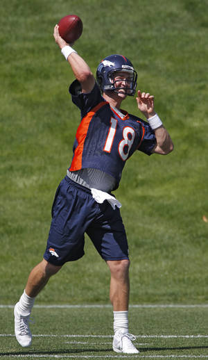 Photo -   Denver Broncos quarterback Peyton Manning throws a pass during NFL football practice at the team's training facility in Englewood, Colo., on Monday, June 4, 2012. (AP Photo/Ed Andrieski)