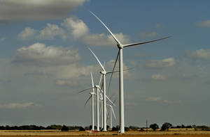 Photo - The Canadian Hills Wind Farm under construction north of Calumet is shown in this photo from September 26, 2012. Photo By Steve Gooch, The Oklahoman <strong>Steve Gooch</strong>