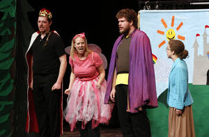 "Cast members from the Cimarron Opera Company perform ""Fumbelina,"" the story of a girl who is something of a klutz, for Norman third-graders Thursday in special shows during the day. The cast reprised the comedic opera for the general public in a special performance Thursday night at the Nancy O'Brian Center for the  Performing Arts. Performers, from left, are Sam Briggs, Kristin Fitzgerald, Scott Whitehead and Suzanne Stanley. PHOTO BY STEVE SISNEY, THE OKLAHOMAN"