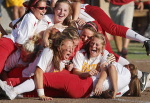 Photo - Dale players are very happy. Class 2A softball championship game between Savanna and Dale  at Firelake Ball Fields in Shawnee on Saturday, Oct. 12, 2013. Dale won the game, 3-2.     Photo by Jim Beckel,  The Oklahoman.