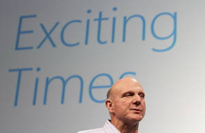 Photo -   FILE - In this Monday, July 16, 2012, file photo, Microsoft CEO Steve Ballmer speaks at a Microsoft event in San Francisco. Ballmer can't afford to be wrong about Windows 8. If the dramatic overhaul of the Windows operating system flops, it will reinforce perceptions that Microsoft is falling behind other technology giants as the world moves on to smartphones, tablets and other sleek devices from Apple, Google and Amazon. (AP Photo/Jeff Chiu, File)