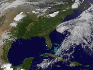 Photo -   This image provided by NASA shows Subtropical Storm Beryl along the South Carolina Georgia coastlines. The image was acquired Friday May 25, 2012 at 11:30 p.m. EDT. Tropical storm warnings have been issued for the Southeast coast from north Florida to South Carolina as a cluster of thunderstorms was gathering strength Friday night and expected to become Tropical Storm Beryl over the Memorial Day weekend. The National Weather Service said that the storm's maximum sustained winds were at 45 mph. But they are expected to increase as the storm moves over the waters of the Atlantic. (AP Photo/NASA)