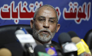 photo -   FILE - In this Saturday, Oct. 9, 2010 file photo, Mohammed Badie speaks during a press conference at the group&#039;s parliamentary office in Cairo, Egypt. A leading Jewish organization is calling Saturday, Oct. 13, 2012 on the White House to cut contacts with Egypt&#039;s most powerful political movement, the Muslim Brotherhood, over anti-Semitic remarks attributed to its spiritual guide. Mohammed Badie said that Jews were spreading &quot;corruption,&quot; had slaughtered Muslims and profaned holy sites, according to comments published on the group&#039;s website and emailed to reporters. He further called on Muslims to fight Israel, saying Zionists only understood force. (AP Photo/Nasser Nasser, File)  
