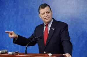 Photo - U.S. Rep. Tom Cole, R-Moore, during a press conference at the state Capitol in Oklahoma City Tuesday, June 1, 2010. Photo by Paul B. Southerland, The Oklahoman
