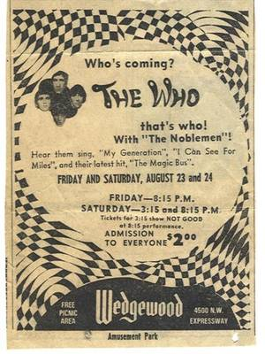 Photo - This ad for The Who's performances at Oklahoma City's old Wedgewood Amusement Park ran in the Aug. 23, 1968 editions of The Oklahoman. <strong></strong>