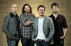"This Feb. 22, 2012, photo shows the Eli Young Band, from left, Jon Jones, James Young, Mike Eli and Chris Thompson in Nashville, Tenn. ""Crazy Girl"" is up for song, single and vocal group of the year at the ACM Awards, which air live Sunday on CBS. The nominations are acknowledgment of a decade of hard work as the band grew from a partnership between two roommates at the University of North Texas to a tight, ambitious outfit that relentlessly toured and grew its fan base one show at a time. (AP Photo/Mark Humphrey) ORG XMIT: NYET721"