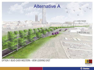 Photo - DRAWING / RENDERING: The Oklahoma City city council will vote Tuesday on a revised plan for the downtown boulevard that would navigate the Western-Classen-Reno corridor with a shorter overpass than was previously proposed. Provided by the city of Oklahoma City. <strong>PROVIDED</strong>
