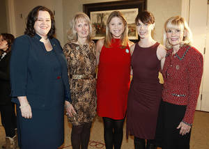 photo - Shannon Evers, Anne Gray, Jenna Bush Hager, Barbara Pierce Bush, Myrla Pierson.  PHOTOS BY PAUL HELLSTERN, THE OKLAHOMAN