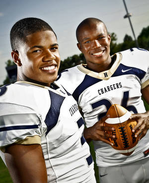 Photo - HIGH SCHOOL FOOTBALL: Heritage Hall football duo Sterling Shepard and Barry Sanders Jr., from left, on Tuesday, August 16, 2011, in Oklahoma City, Okla. Photo by Chris Landsberger, The Oklahoman ORG XMIT: KOD ORG XMIT: OKC1108161926253662 ORG XMIT: 1108242239107876