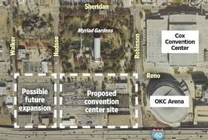 photo - 2011 map illustration of one proposed Convention Center site by Chris Schoelen