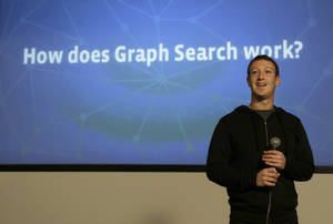 "Photo - Facebook CEO Mark Zuckerberg speaks at Facebook headquarters in Menlo Park, Calif., Tuesday, Jan. 15, 2013.  Zuckerberg introduced ""graph search"" Tuesday, a new service that lets users search their social connections for information about their friends' interests, and for photos and places.  (AP Photo/Jeff Chiu)"