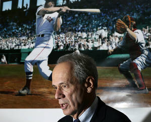 Photo - ADVANCE FOR WEEKEND EDITIONS, SEPT. 21-22- FILE - In this Oct. 4, 2012, file photo, Boston Red Sox President and CEO Larry Lucchino speaks during an interview at Fenway Park in Boston. Through Thursday, the Red Sox had the best record in baseball. (AP Photo/Elise Amendola, File)
