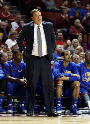 photo - Kansas head coach Bill Self watches as the University of Oklahoma Sooners (OU) play the Kansas Jayhawks (KU) in NCAA, men's college basketball at The Lloyd Noble Center on Saturday, Feb. 9, 2013 in Norman, Okla. Photo by Steve Sisney, The Oklahoman