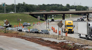 Photo - Broadway Extension traffic  merges before it enters  Interstate 44 westbound in Oklahoma City.  Photo by  Doug Hoke,  The Oklahoman