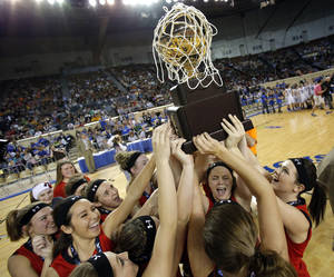 Photo - Erick celebrates the Class B girls state championship over Lomega at the State Fair Arena.,  Saturday, March 2, 2013. Photo by Sarah Phipps, The Oklahoman