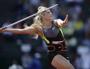 Photo - Brittany Borman competes in the women's javelin final at the U.S. Olympic Track and Field Trials Sunday, July 1, 2012, in Eugene, Ore. (AP Photo/Matt Slocum) ORG XMIT: USTF305