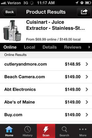 photo -   This screenshot shows the Redlaser mobile application owned by eBay Inc., the online marketplace. Price-comparison apps, make it easier to know of an item's lowest price and have since become a bigger threat to retailers who don't want customers using their stores as showrooms. (AP Photo/Redlaser)