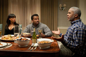 "Photo - from left, Kerry Washington, as Grace Peeples, Craig Robinson as Wade Walker and David Alan Grier as Virgil Peeples in a scene from the film,""Peeples.""  LIONSGATE PHOTO <strong>Nicole Rivelli</strong>"