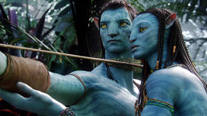 "Photo - FILE - This undated file film publicity image originally released by 20th Century Fox shows the characters Neytiri, voiced by Zoe Saldana, right, and Jake, voiced by Sam Worthington, in a scene from ""Avatar."" Director James Cameron announced plans to shoot and produce the next three ""Avatar"" sequels largely in New Zealand. What Cameron gets out of the deal is a 25 percent rebate on production costs, as long as his company spends at least $413 million on the three films. (AP Photo/20th Century Fox, File)"