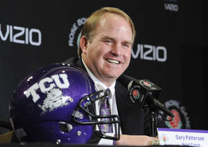 Photo - TCU head coach Gary Patterson speaks at a news conference in Los Angeles, Friday, Dec. 31, 2010. TCU is scheduled to face Wisconsin in the Rose Bowl NCAA college football game, on New Year's Day in Pasadena, Calif. (AP Photo/Gus Ruelas)