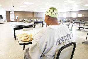 Photo - Inmate Steven Green dines on halal lunch at John Lilley Correctional facility in Boley, Friday, May 25, 2012. Photo By David McDaniel/The Oklahoman <strong>David McDaniel - The Oklahoman</strong>