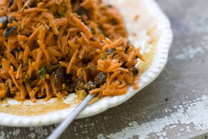 photo - A Grated Carrot Salad with Dates and Pistachios is served on a plate as shown in Concord, N.H.   AP Photo/Matthew Mead <strong>Matthew Mead - AP</strong>