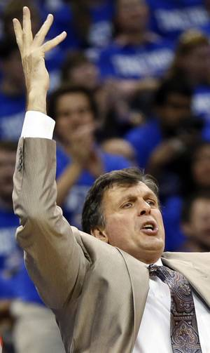 Photo - Houston coach Kevin McHale reacts to a call against the Rockets during Game 1 in the first round of the NBA playoffs between the Oklahoma City Thunder and the Houston Rockets at Chesapeake Energy Arena in Oklahoma City, Sunday, April 21, 2013. Oklahoma City won, 120-91. Photo by Nate Billings, The Oklahoman