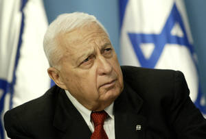 Photo - FILE -- In this  Sunday May 16, 2004 file photo, Israeli Prime Minister Ariel Sharon pauses during a news conference in his Jerusalem office regarding education reform. On Wednesday, Jan. 1, 2014 the condition of the comatose former Israeli Prime Minister Ariel Sharon has taken a turn for the worse, the hospital treating him said Wednesday. Sharon, 85, has been in a coma since 2006 when a devastating stroke incapacitated him at the height of his political power. (AP Photo/Oded Balilty, File)
