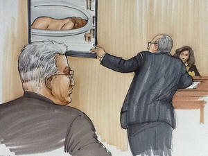 Photo -   In this courtroom sketch, Drew Peterson, foreground left, looks on as defense attorney Joe Lopez cross examines Kathleen Savio's neighbor, Mary Pontarelli, as they view a photo of Savio's lifeless body in the tub of her home, Tuesday, July 31, 2012, in Joliet, Ill., during the first day of Drew Peterson's murder trial. Peterson is charged in the 2004 death of Savio, his third wife. (AP Photo/Tom Gianni)