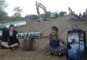 Photo - Two more protesters were arrested Tuesday morning in Hughes County after allegedly trying to block construction of the southern leg of the Keystone XL pipeline. <strong> - provided</strong>