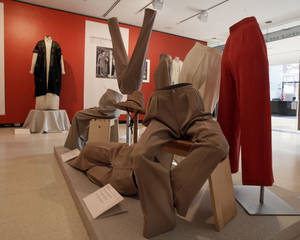 "Photo -   A display of slacks and jodhpurs is shown as part of the ""Katharine Hepburn: Dressed for Stage and Screen"" exhibit in the New York Public Library for the Performing Arts at Lincoln Center, Tuesday, Oct. 16, 2012. (AP Photo/Richard Drew)"
